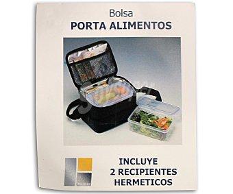 BERNAR Bolsa isotérmica porta-alimentos de poliéster, color azul oscuro. Incluye recipientes con cierre hermético y capacidad de 1,1 litros. Compartimento para cubietos y servilletas 1 Unidad