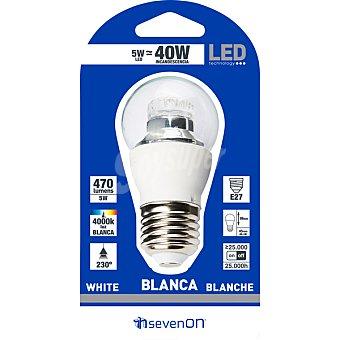 SEVENON 5 W (40 W) lámpara LED esférica clara luz blanca casquillo E27