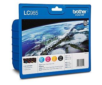 BROTHER Pack de cartuchos de tinta LC985, negro, cian, magenta y amarillo, compatible con impresoras: DCP-J125, J315W, J515W, MFC-J220, J265W, J410, J415W