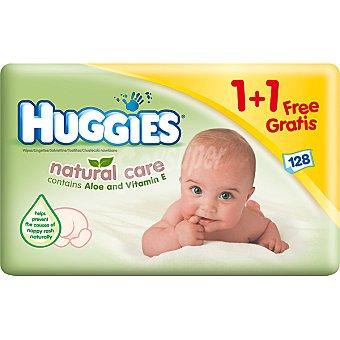 Huggies Natural Care Toallitas infantiles con aloe vera y vitamina E Pack 2 envase 64 unidades