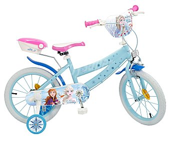 Disney Frozen Bicicleta infantil con ruedines de la película Frozen, con ruedas de 40cm. (16''). disney