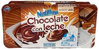HACENDADO Natillas de chocolate 4 unidades de 125 g (500 g)