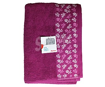 AUCHAN Toalla 100% algodón para ducha, estampado jacquard color rosa fucsia, 70x140 centímetros 1 Unidad