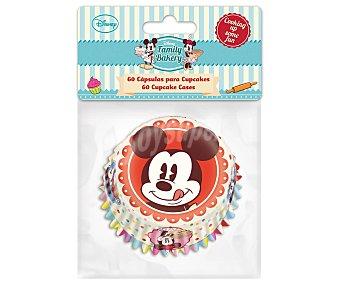 Disney Cápsulas o moldes con diseño Mickey para magdalenas y cupcakes de tamaño estándar, modelo Family Bakery 60 unidades