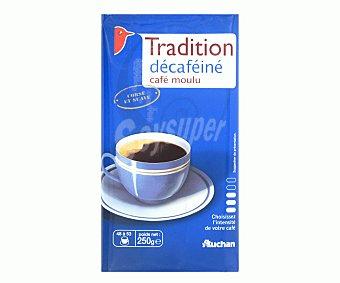 Auchan Café molido de tueste natural descafeinado 250 gramos
