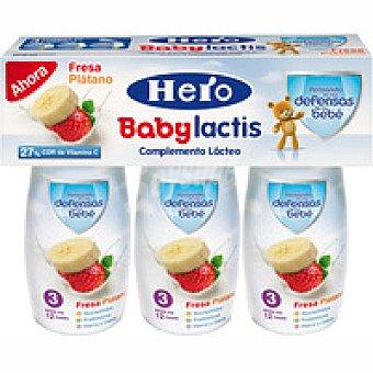 Hero Lactis de fresa-plátano Pack 3x100 ml