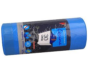Auchan Bolsas de basura azul con autorcierre y antigoteo capacidad 30 litros 40 uds