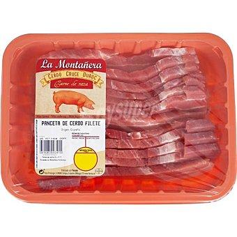 LA MONTAÑERA Panceta de cerdo en filetes peso aproximado Bandeja 450 g