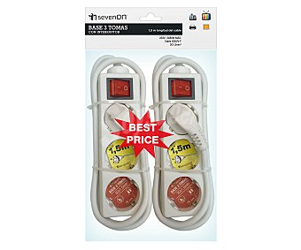 DAYRON Pack de 2 bases de 3 tomas con interruptor y prolongación de 1,5 metros Pack de 2 unidades
