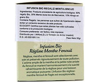 PAGÉS Infusión de regaliz con menta e hinojo ecológico 20 sobres de 1,5 gr