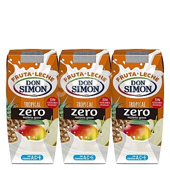 Don Simón Frutas + Leche Funciona Max Tropical con fibra y vitaminas A, C y E 3 unidades de 330 ml