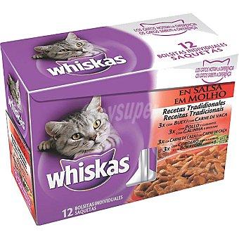 Whiskas Recetas tradicionales para gato en salsa seleccion de carne Pack 12 bolsa 100 g