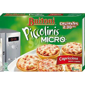 BUITONI PICCOLINIS Micro Mini pizzas capricciosa jamón y queso para microondas 6 unidades envase 180 g 6 unidades