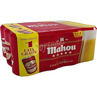 Mahou Cerveza 5 estrellas rubia nacional Pack 11 latas 33 cl