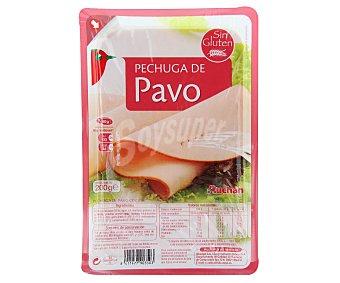 Auchan Pechuga cocida de pavo, sin gluten y cortadas en lonchas 200 g