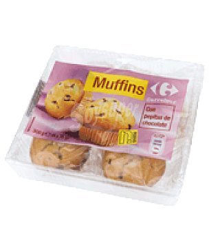 Carrefour Muffins con pepitas de chocolate Pack de 4x75 g