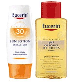 Eucerin Loción solar textura ligera con FP30 + Regalo de Oleogel de ducha 200 ml. 150 ml
