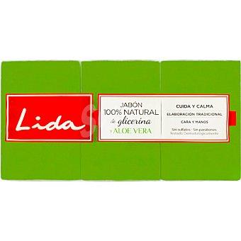 Lida Pastilla de jabón natural de glicerina con aloe vera Pack 3 pastilla 125 g