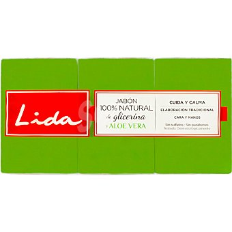 Lida Pastilla de jabon natural de glicerina con aloe vera Pack 3 pastilla 125 g
