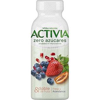 Activia Danone Zero bífidus líquido de fresa y arándanos sin azúcares añadidos Botella 245 g