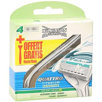 Wilkinson Sword quattro titanium sensitive maquinilla de afeitar recambio Blister 4 u