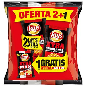 Lay's patatas fritas al punto de sal onduladas + Lay's XTRA MIX bolsa de 85 g pack 2 bolsas 147 g