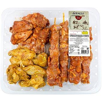 Gurmesa Combinado de pinchos de pollo adobados y alitas de pollo adobadas y Al-Andalus bandeja 880 g peso aproximado bandeja 880 g