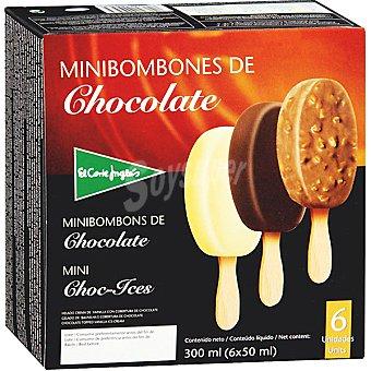 El Corte Inglés Minibombón helado de chocolate surtido variado estuche 300 ml 6 unidades