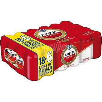 Amstel cerveza rubia nacional + 6 latas gratis pack 18 lata 37,5 cl