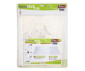 FIXO Lote de 5 forralibros de polipropileno con solapa ajustable, tira adhesiva reposicionable y de 28.5x52 centímetros 1 unidad
