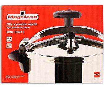 MAGEFESA Olla expréss a presión de puente modelo Star, con cuerpo de acero inoxidable con triple fondo difusor, regulación de la presión interna y capacidad de 8 litros, apta para todo tipo de fuegos 1 Unidad