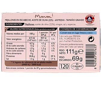 Mmm Auchan Mejillones en escabeche de las Rías Gallegas con aceite de oliva 6/8 Piezas Lata 63 Gramos