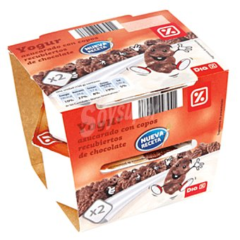 DIA DIA yogur combi con copos recubiertos chocolate  pack 2 unidades 150 gr