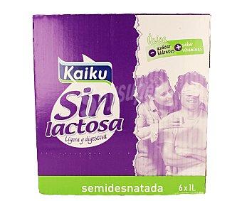Kaiku Leche semidesnatada sin lactosa 6 Unidades de 1 Litro