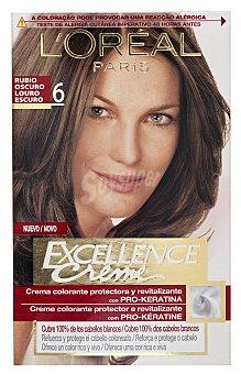 Excellence L'Oréal Paris Tinte Rubio Oscuro nº 6 crema color triple cuidado caja 1 unidad con Pro-keratina + Ceramida + Colágeno Caja 1 unidad