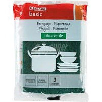 Eroski Estropajo de fibra verde Pack 3 unid