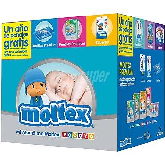 MOLTEX Premium Canastilla con pañales de 4 A 10 kg talla 3 envase 60 unidades + 24 toallitas Premium + 10 baberos 3 envase 60 unidades