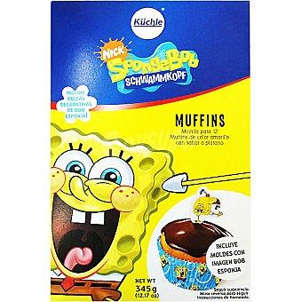 KÜCHLE Muffins Bob Esponja Mezcla para 12 muffins de color amarillo con sabor a plátano estuche 345 g incluye moldes con imagen Bob Esponja Estuche 345 g