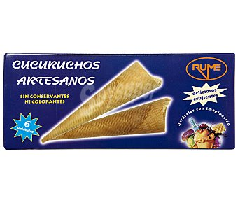 Rume Cucuruchos artesanos para helado 6 unidades estuche 140 g 6 unidades