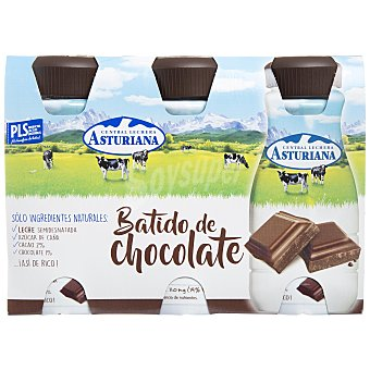Central Lechera Asturiana Batido de cacao Pack 3 unidades 200 ml