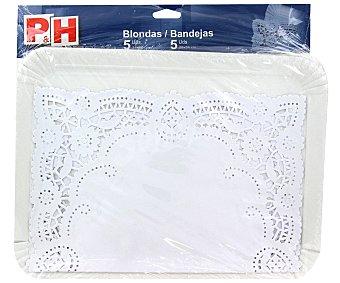 P & H 5 blonda 31x38 con 5 bandejas de cartón 25x34 Estuche 5 uds