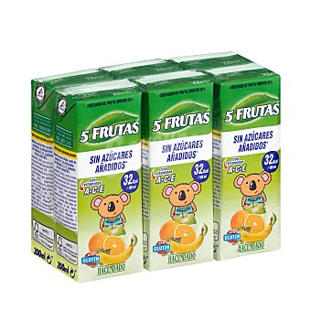 Hacendado Bebida 5 frutas (platano, naranja, mandarina, UVA Y manzana) (sin azucares añadidos) 6 x 200 ml