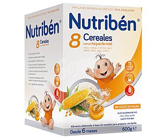 Nutribén Papilla en polvo con 8 cereales y un toque de miel, a partir de 6 meses Caja 600 g