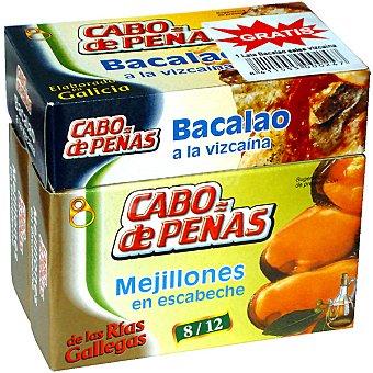 CABO DE Peñas mejillones en escabeche de las rías gallegas 8-12 piezas pack 2 lata 69 g neto escurrido + bacalao a la vizcaína lata 70 g Pack 2 lata 69 g