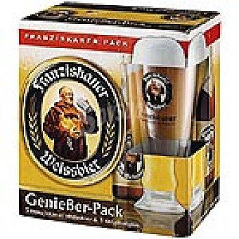 Franziskaner Cerveza negra de trigo alemana + vaso Pack 5 botella 50 cl
