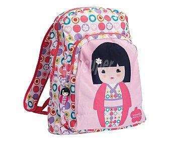 KIMMIDOLL Mochila escolar con asas reforzadas, amplio bolsillo frontal, cierre de cremallera e imagen de una muñeca japonesa sobre fondo rosa 1 unidad