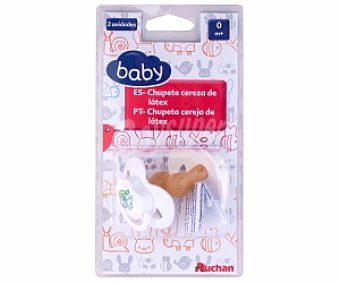 Baby Chupete anatómico de látex 0-4 Meses, Blanco 2 Unidades