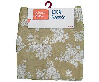 Auchan Delantal de algodón, estampado floral color beige, 75x85 centímetros 1 Unidad