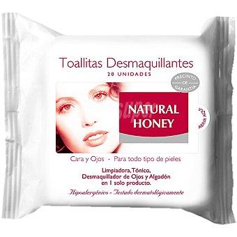 Natural Honey Toallitas desmaquillantes de cara y ojos para todo tipo de piel bolsa 20 unidades Bolsa 20 unidades