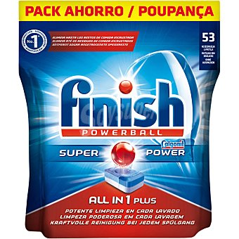 Finish Calgonit detergente lavavajillas Super Power todo en 1 Plus bolsa 53 pastillas Bolsa 53 pastillas